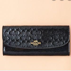 Coach patent debossed wallet